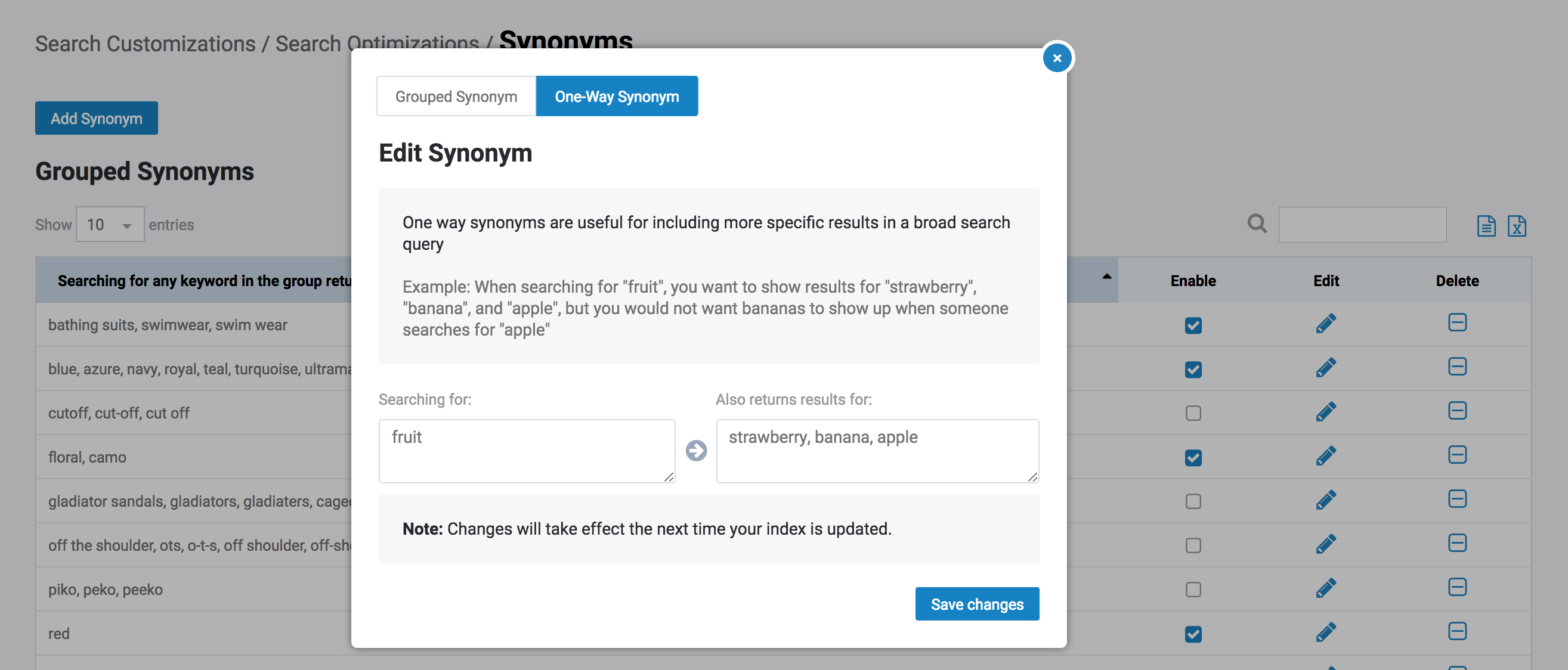 Synonyms – SearchSpring Help Desk