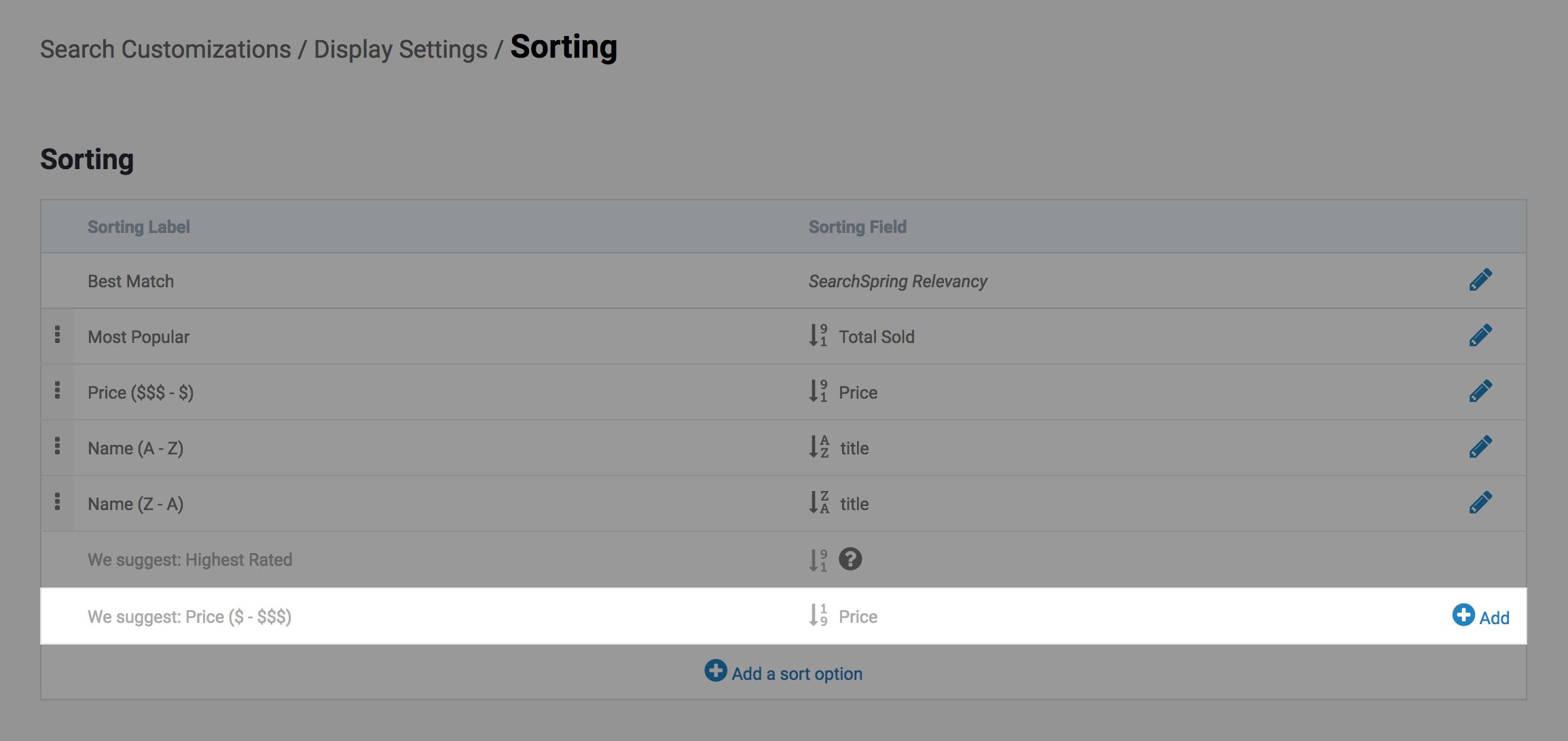 Sort Options – SearchSpring Help Desk